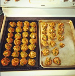 Meatballs on a cookie sheet